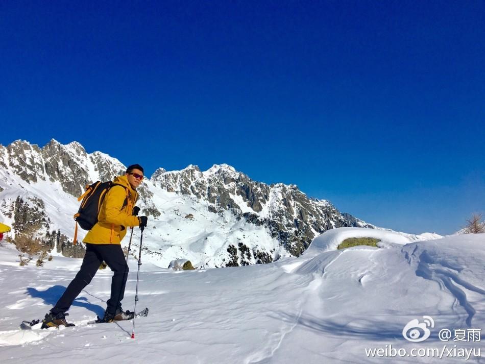 夏雨勃朗峰滑雪度情人节 专业范儿十足