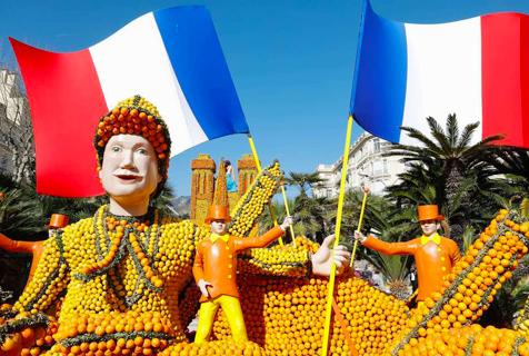 法柠檬节开幕 新鲜柠檬雕塑创意绝妙