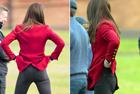 凯特王妃背对镜头提裤子