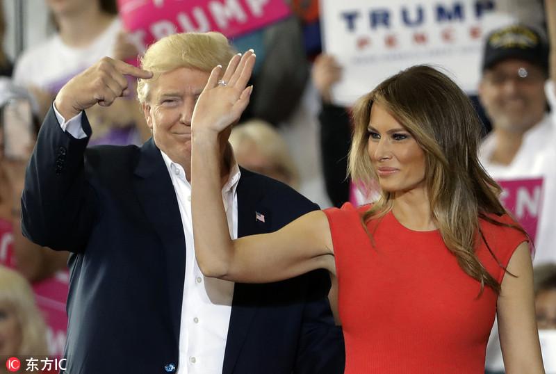 """特朗普举行""""让美国再次伟大""""集会 梅拉尼娅相伴秀恩爱"""