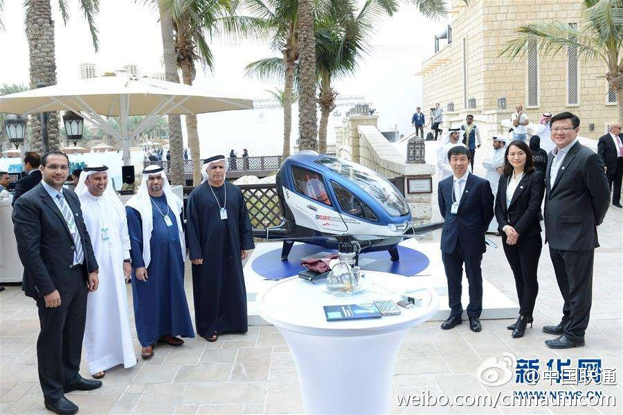 中国造可载客无人机将在迪拜投入运营