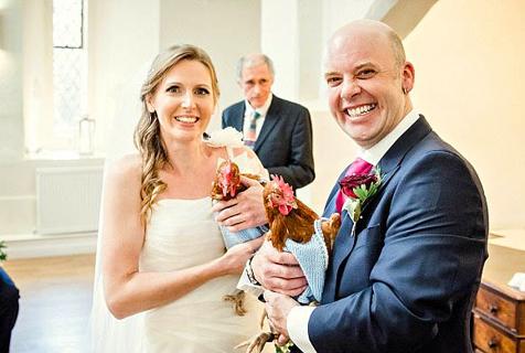 奇葩!美夫妇婚礼上让两只母鸡作伴娘