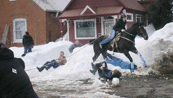 美国一马儿受无人机惊扰脱缰冲入滑雪赛场致3人受伤