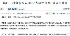 村官候选人100元发60个微信红包 被认定贿选