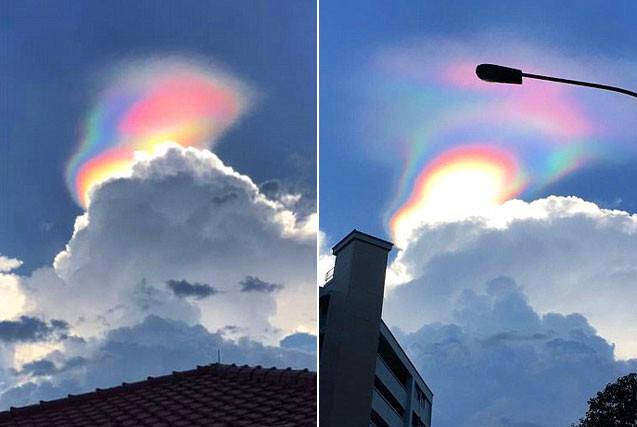 """新加坡出现罕见""""火彩虹""""被误认成UFO"""