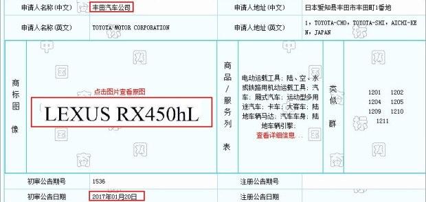 未来或将进口 雷克萨斯注册RX450hL商标