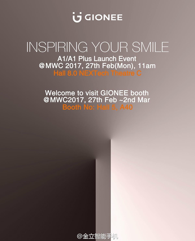 #金立A1/A1Plus#新品发布会将于2月27日11:00 在巴塞罗那 MWC展馆(Fira Gr