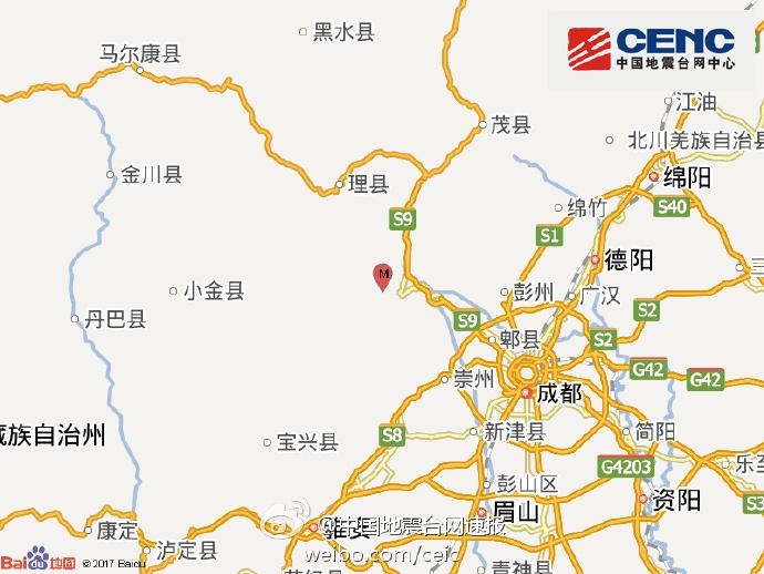 汶川发生4级地震 网友:成都震感强烈