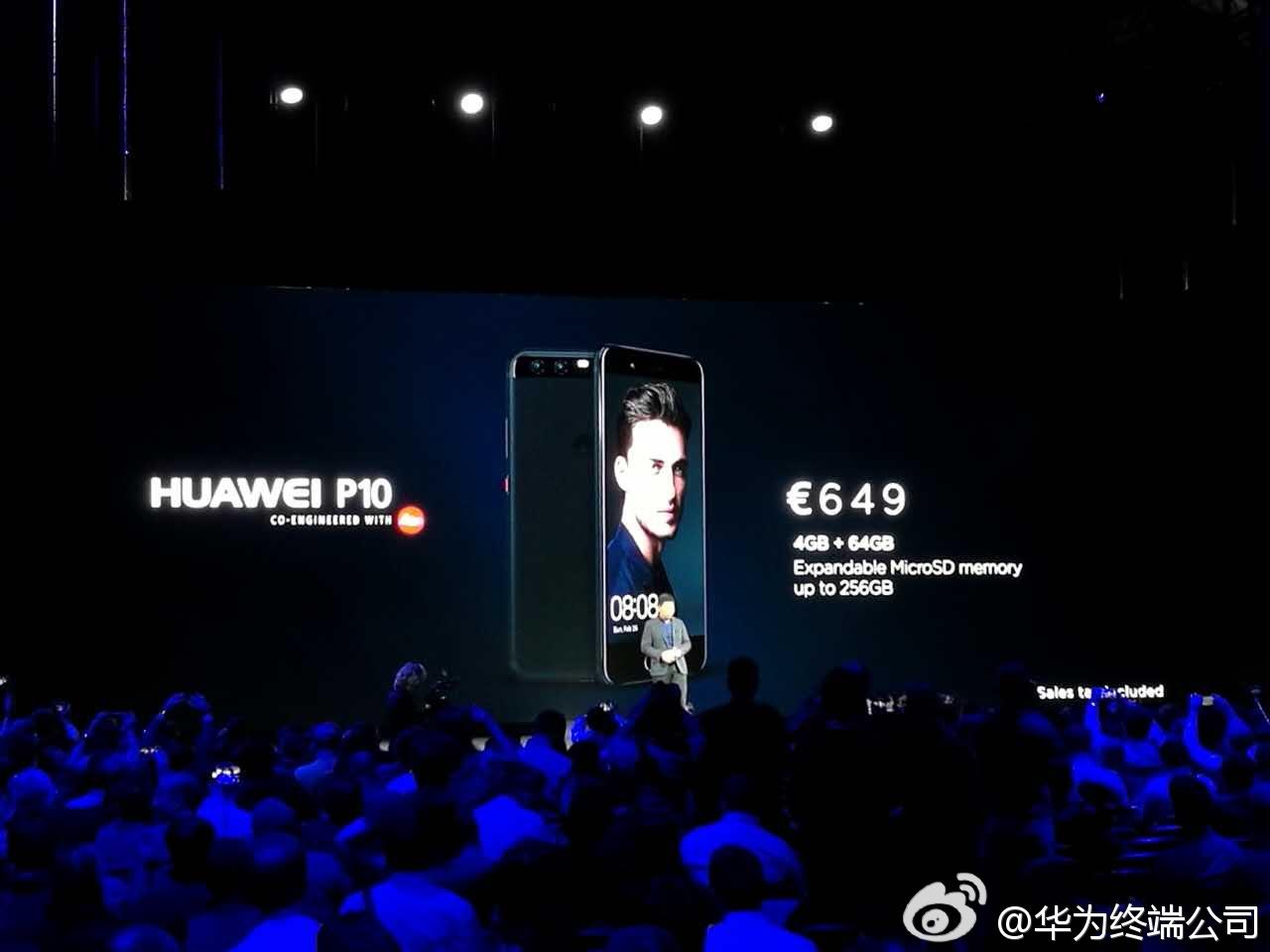 #华为MWC2017#新品价格公布啦!#HUAWEIP10#4GB+64GB版售价649欧,#HUA