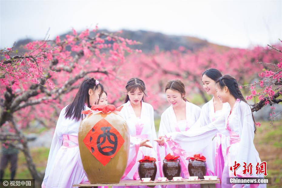 Peach flower festival costume female college students poetry drinking among the flowers