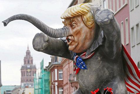 """德国""""玫瑰星期一""""狂欢节恶搞特朗普"""