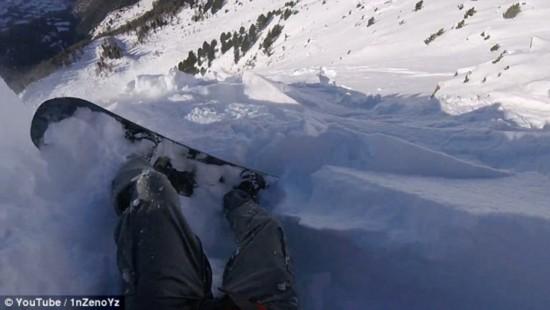 惊险!瑞士一男子雪道外滑雪遇雪崩侥幸逃生