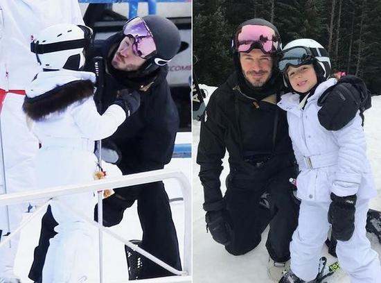 """温馨!贝克汉姆带小七滑雪 还向5岁女儿""""索吻"""""""