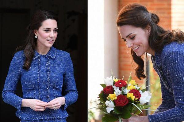 凯特王妃着蓝色套裙出席活动 美丽动人