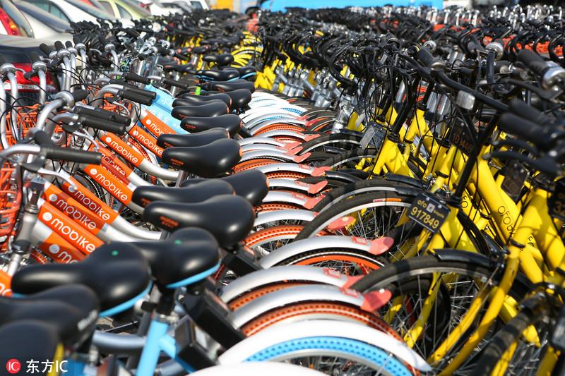 上海4500辆共享单车被扣停车场 空中俯瞰密密麻麻