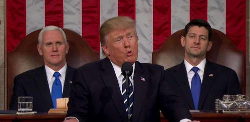 特朗普发表首次国会演讲现场图片 298113 499x245