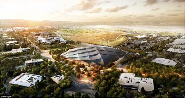 谷歌新总部山景城渲染图公布 有颜值更有高科技