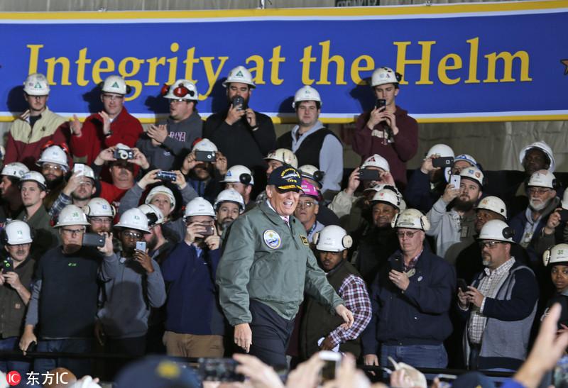 特朗普登福特号航母发表演讲:将为海军新增12艘航母
