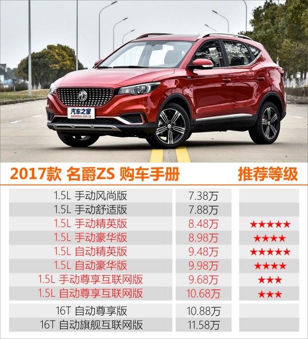 推荐1.5L精英版 2017款名爵ZS购车手册