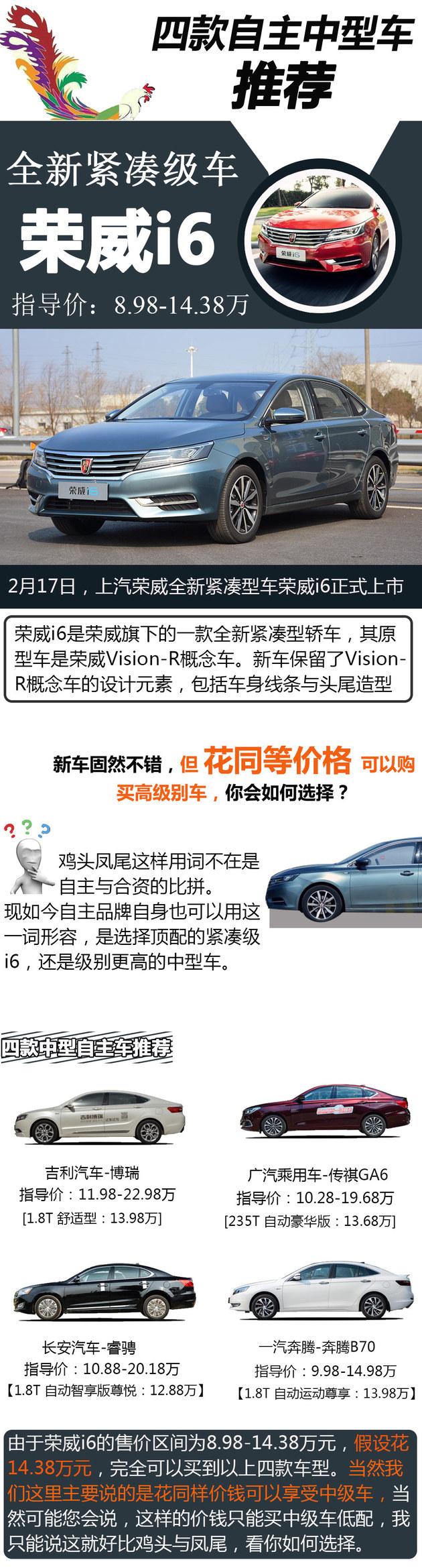鸡头or凤尾 荣威i6上市/四款中级车推荐