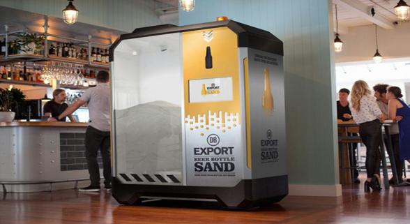 秒变成沙 新西兰啤酒商推出啤酒瓶制沙机