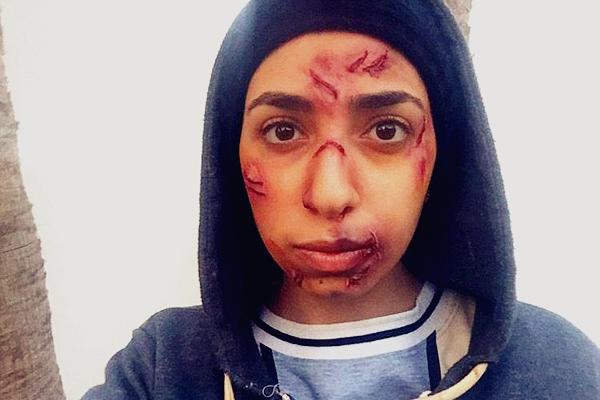 迪拜女生化妆技巧逆天 创伤妆逼真恐怖