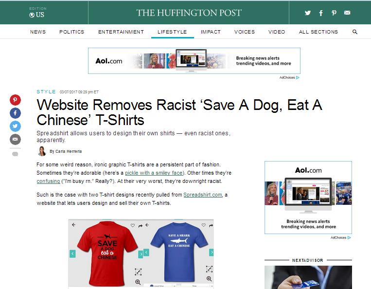 """""""救一只狗,吃一个中国人"""",德企推出这T恤,还说是幽默和言论自由!"""