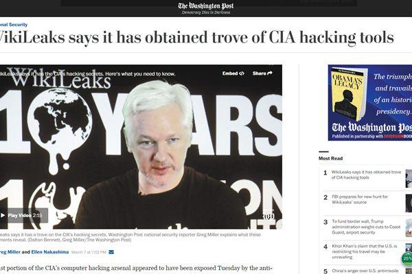 维基解密爆CIA监听全球智能设备,美国双重标准遭俄媒谴责