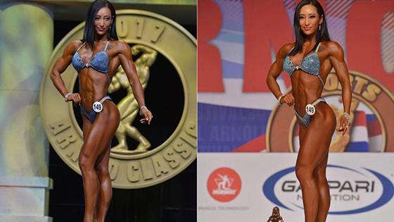 中国美女获健美世界冠军 跟职业选手比如何?