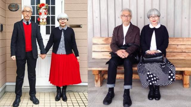 秀恩爱!日本老夫妇结婚37年每天都穿情侣装