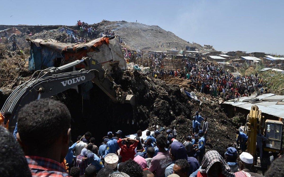 埃塞俄比亚垃一圾场坍塌致至少46死 多人失踪
