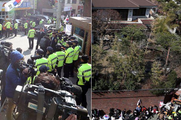 """记者长枪短炮围堵朴槿惠私宅  警方筑""""人墙""""严兵把守"""