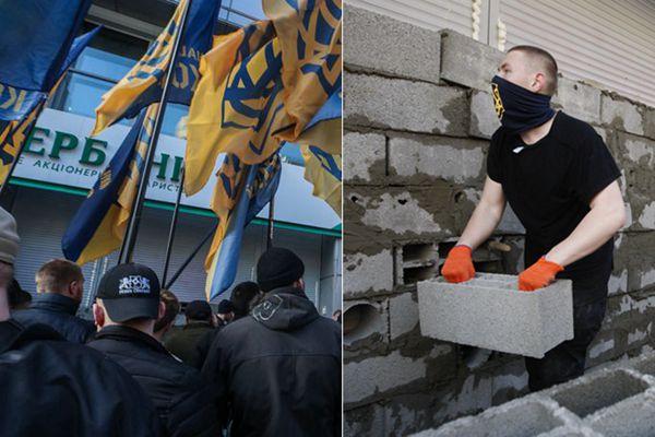 休想开业!乌克兰示威者砌墙封俄银行
