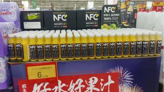 超市中的NFC果汁。马金顺 摄