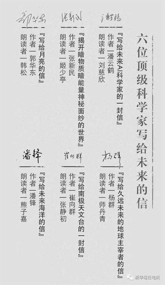 中国6位顶级科学家每人给未来给写了一封信