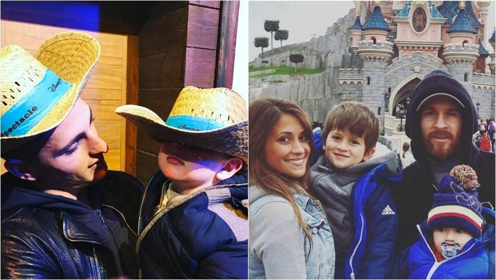 梅西带全家游玩巴黎迪士尼 墨镜黑帽遮面