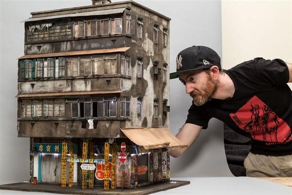 艺术家打造微缩模型:将香港4层楼压缩成1米高
