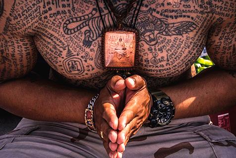 泰佛教徒纹身求福 盼驱走噩运