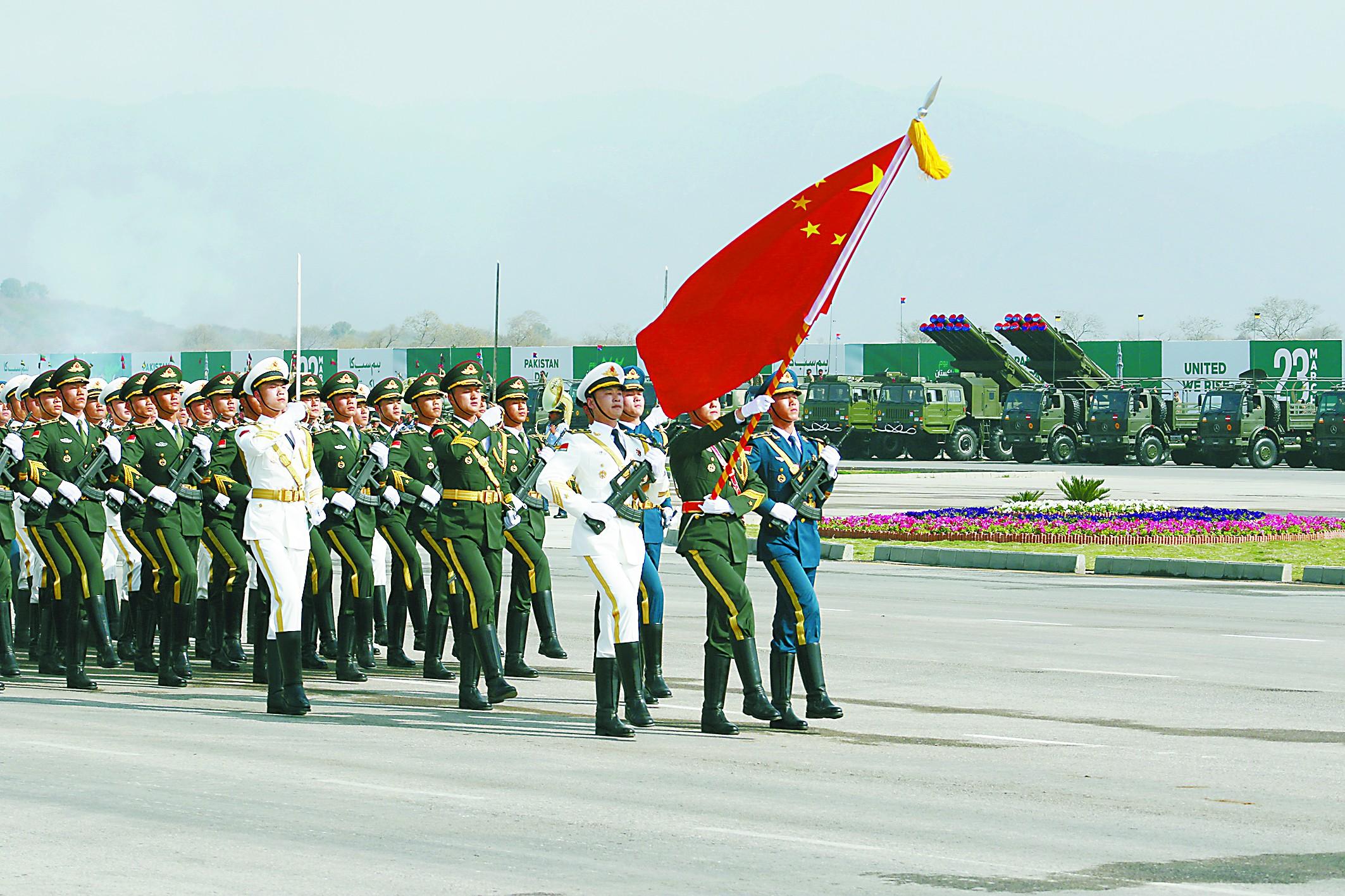 巴铁阅兵彩排充满中国元素 解放军仪仗队首度亮相