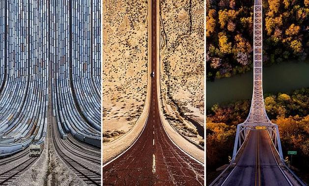 宛如《盗梦空间》的路面折叠:无人机照片令人头晕目眩