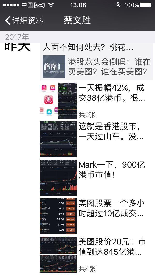 """美图股价经历""""过山车"""" 蔡文胜称""""这就是香港股市"""""""