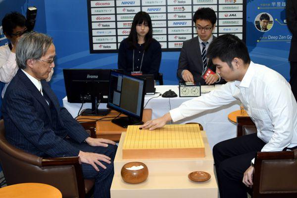 人机大战!中国围棋选手芈昱廷九段取胜日本人工智能