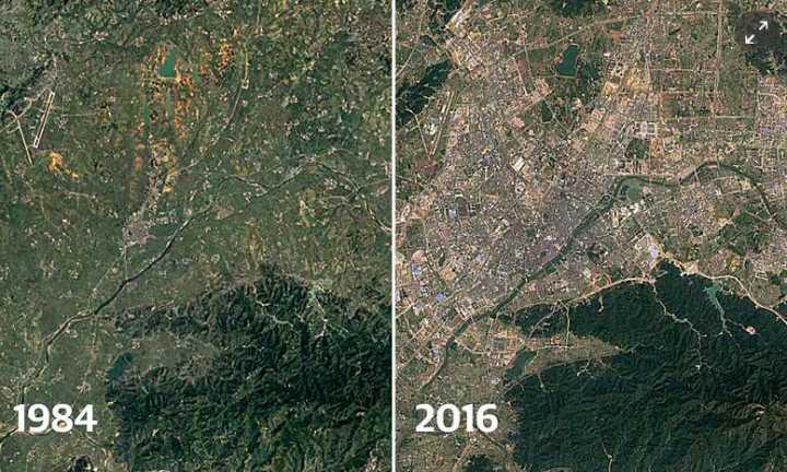 英媒:30年对比图 延时拍摄卫星展示中国城市秘密