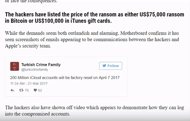 黑客发视频向苹果要赎金 否则删除3亿用户数据