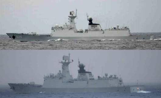 日偷拍中国舰队穿越宫古海峡