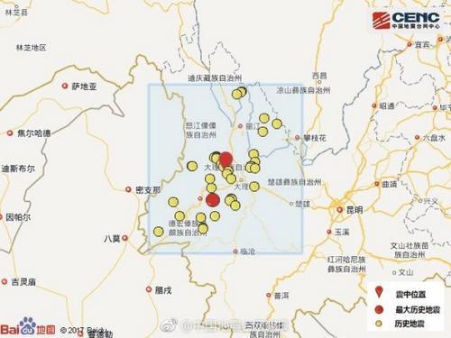 云南大理漾濞县连续发生2次4.7级以上地震