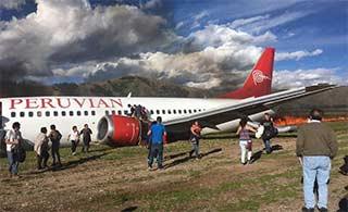 秘鲁737客机冲出跑道燃起大火