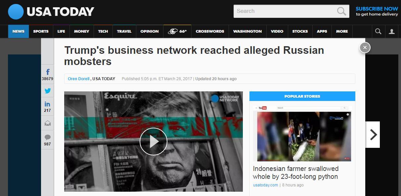 特朗普被曝为拓展商业帝国与俄罗斯黑帮做生意
