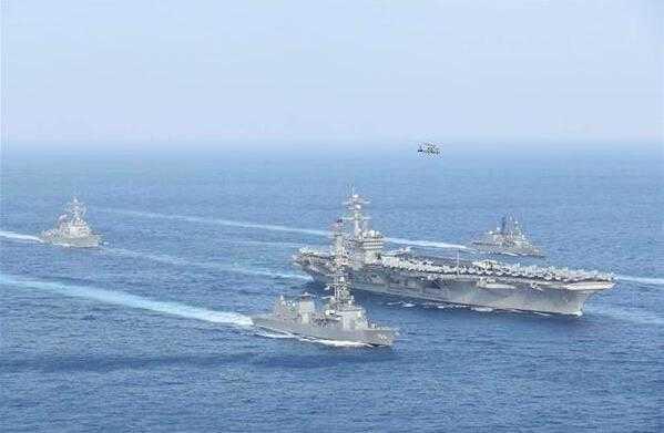日海自与美航母战斗群再在东海联合训练 1个月内搞两次