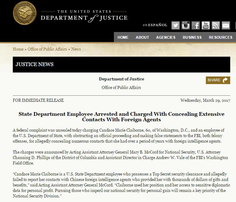 """美媒称美国务院雇员因""""向中国提供情报""""被起诉 申辩无罪"""